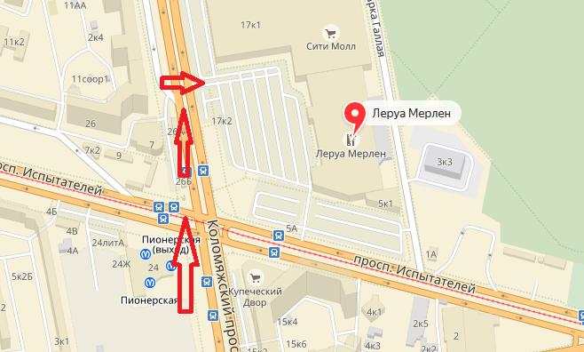 Леруа Мерлен Санкт-Петербург Испытателей как проехать